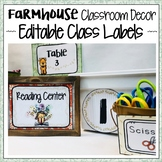 FARMHOUSE CLASSROOM DECOR LABLES, NUMBERS, CENTER, AND TABLE SIGNS
