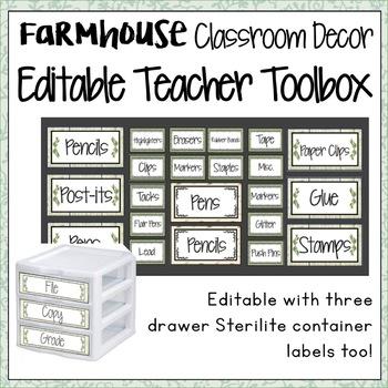 FARMHOUSE DECOR EDITABLE TEACHER TOOLBOX LABELS