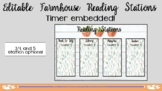 FARMHOUSE EDITABLE Reading Stations PowerPoint (TIMER EMBEDDED!)