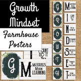 FARMHOUSE GROWTH MINDSET Posters Shiplap Rustic Chic Chalkboard