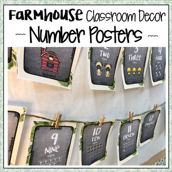 FARMHOUSE CLASSROOM DECOR NUMBER POSTERS