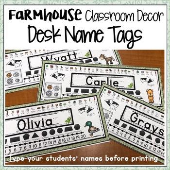FARMHOUSE CLASSROOM DECOR EDITABLE STUDENT DESK NAME TAGS
