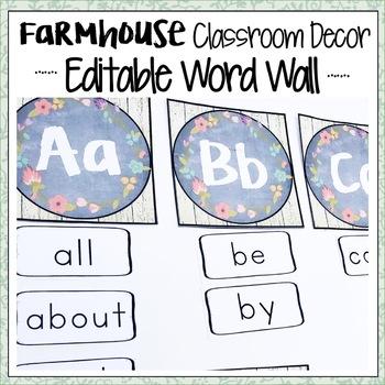 FARMHOUSE CLASSROOM DECOR WORD WALL EDITABLE