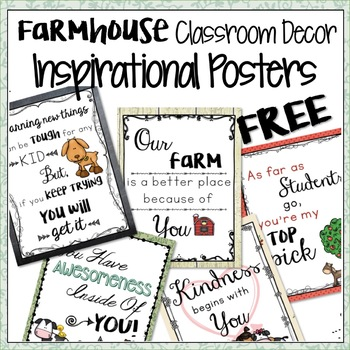 FARMHOUSE THEMED INSPIRATIONAL CLASSROOM POSTERS FREEBIE
