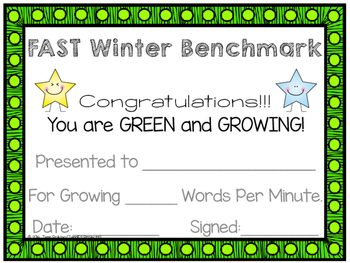 FAST Benchmark Certificate - Winter - Green & Growing - Words Per Minute