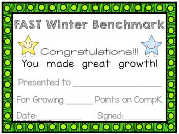 FAST Benchmark Certificate - Winter – Great Growth - Kindergarten