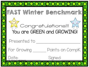 FAST Benchmark Certificate - Winter - Green & Growing - Kindergarten