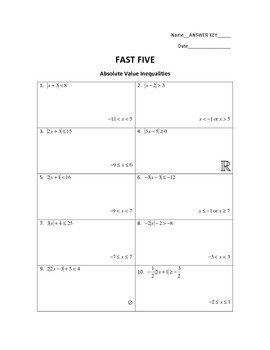 FAST FIVE: Absolute Value Inequalities