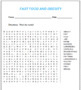 FAST FOOD AND OBESITY (word search)