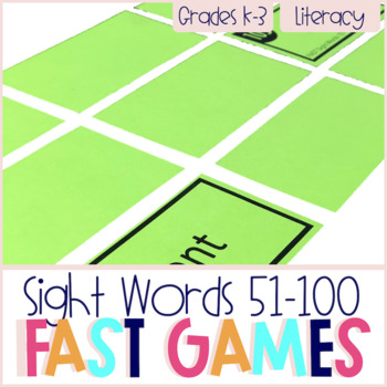 FAST Sight Words 51-100 Printable Games