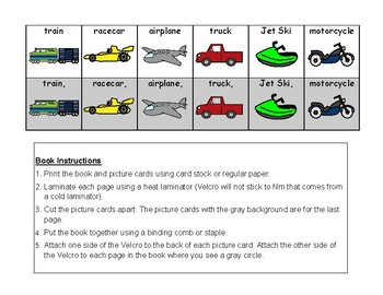 FAST VEHICLES Adapted BOOK, AUTISM, Speech Therapy, Grammar & Concepts, Reading