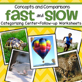 FAST and SLOW Center and Printables for Preschool and Kind