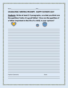 FATHER'S DAY: CHARACTER EDUCATION/ WRITING PROMPT