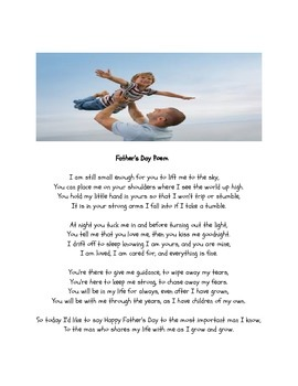 FATHER'S DAY POEM (for a father, or the very important man in a child's life)