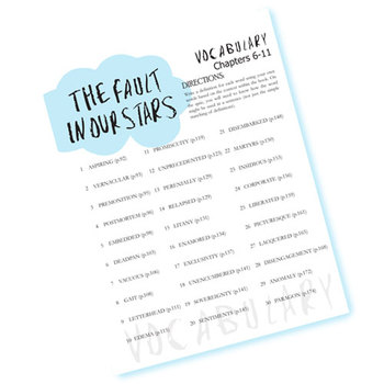 THE FAULT IN OUR STARS Vocabulary List and Quiz (chap 6-11)