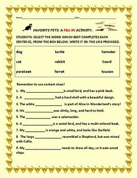 FAVORITE PETS: A SCIENCE/LITERACY ACTIVITY: GRADES 2-4