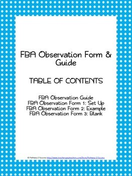 FBA Observation Form & Quick Guide