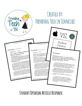 FBI, iPhone Privacy & San Bernardino Attacks - Student Opinion Worksheet