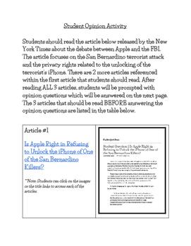 FBI, iPhone Privacy & San Bernardino Attacks - Student Opinion Worksheet