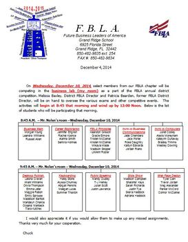 FBLA Dist. Competition Online Test Sched. {EDITABLE/TEMPLATE)