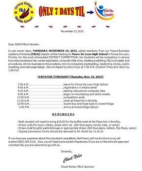 FBLA District Competition Letter To Parents, etc. {EDITABLE/TEMPLATE)