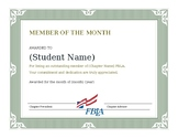 FBLA Member of the Month Certificate
