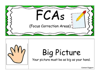 FCA (Focus Correction Area) Cards for Writing