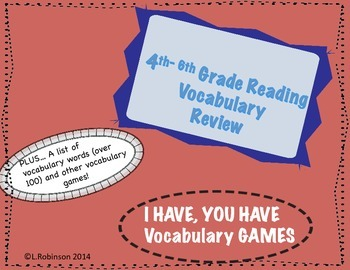 FCAT  4th-6th Reading Review.. I Have, You Have Games