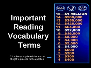 FCAT Reading Vocabulary Review/Who Wants To Be A Millionaire