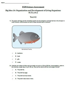 FCAT Science Mini Benchmarks: Life Science: Big Ideas 14 and 17