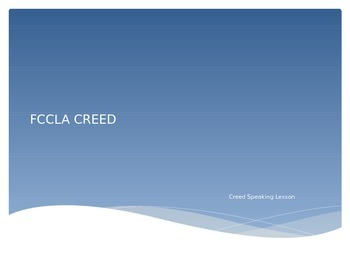 FCCLA Creed Speaking Lesson PowerPoint