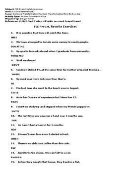 FCE Keyword Transformation Exercises-B1/B2