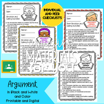 FCPS Building a Community of Writers REVISING and EDITING Checklists