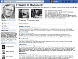 FDR Franklin Roosevelt Facebook Page and Worksheet