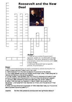 FDR (Roosevelt) and the New Deal Crossword