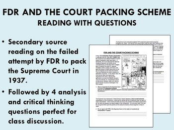 FDR and the Court Packing Scheme - Reading with Questions - USH/APUSH