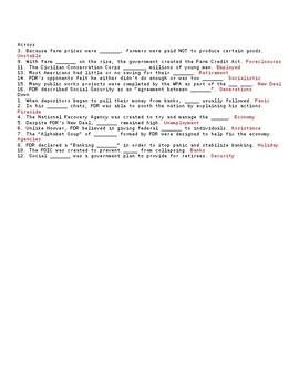 FDR's New Deal Crossword or Webquest