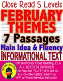 FEBRUARY: PresidentsValentineBlackHistory CLOSE READING 5 LEVEL COMP. PASSAGES