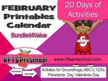 February Activity 20 Days of Printables + (BONUS) Teacher