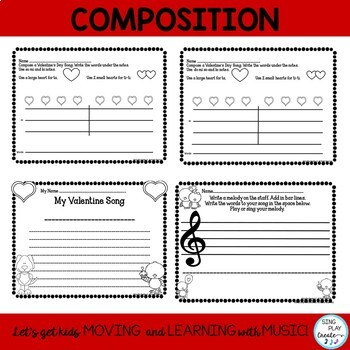 Music Class February Composition and Notation Worksheets