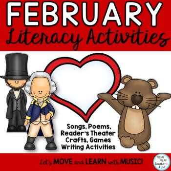 President's, Ground Hog and Valentine's Day Bundle of Literacy Activities & Game
