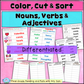 FEBRUARY LITERACY! VALENTINE Nouns, Verbs & Adjectives Activities!