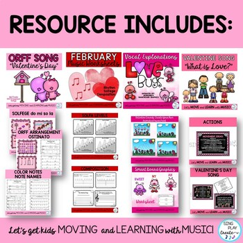 Music Class February Lesson Bundle:Songs,Games, Printables, Kodaly, Orff