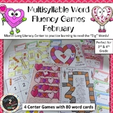 FEBRUARY Multisyllabic Games Word Fluency Literacy Center Big Words Pack