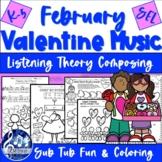 FEBRUARY VALENTINE & WINTER FUN MUSIC Groundhog Day, Composing Worksheets K-5