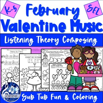 FEBRUARY VALENTINE & WINTER FUN MUSIC Groundhog Day, Composing Worksheets K-5