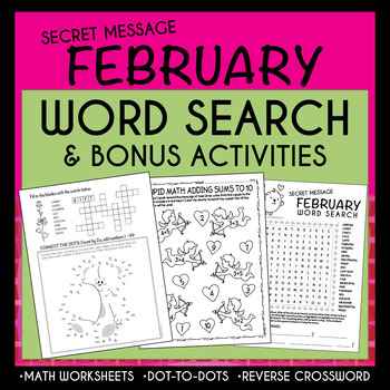 FEBRUARY / Valentine's Day WORD SEARCH-With secret message