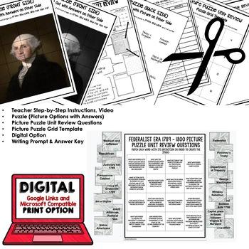 FEDERALIST ERA Picture Puzzle Unit Review, Study Guide, Test Prep