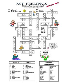 FEELINGS / EMOTIONS / ADJECTIVES - CROSSWORD PUZZLE (FRENCH-ENGLISH) -