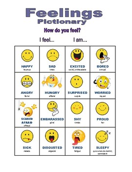 FEELINGS / EMOTIONS PICTIONARY (Adjectives English & French)